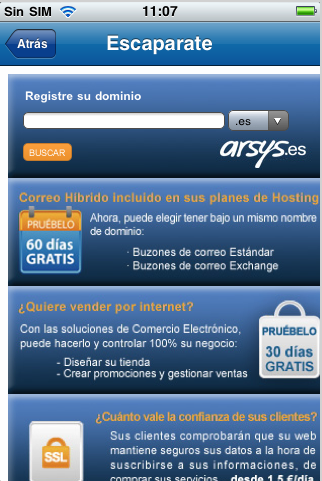 escaparate Arsys Panel