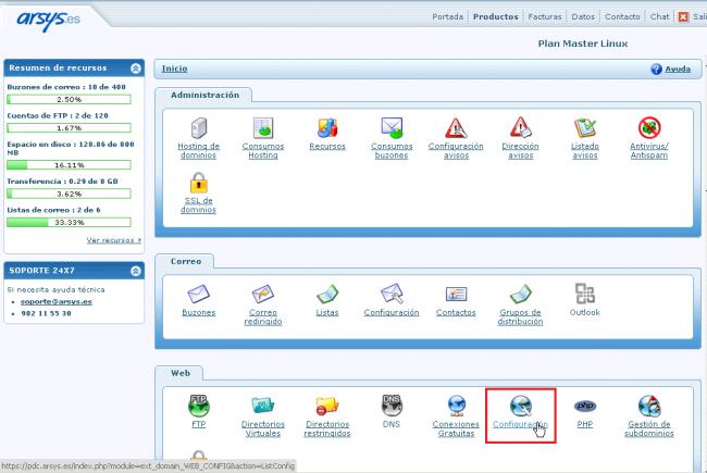 Configuración del hosting web