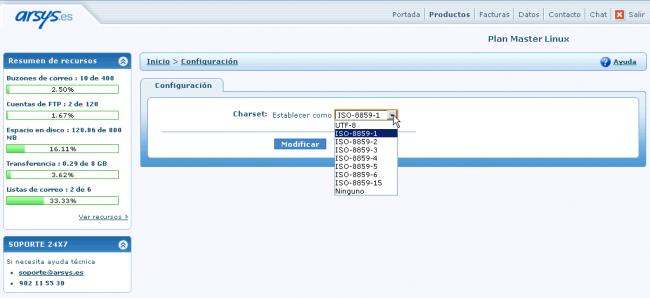 Configuración del charset en el hosting web