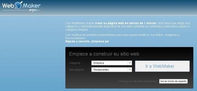 Entrada al Panel de Control de WebMaker