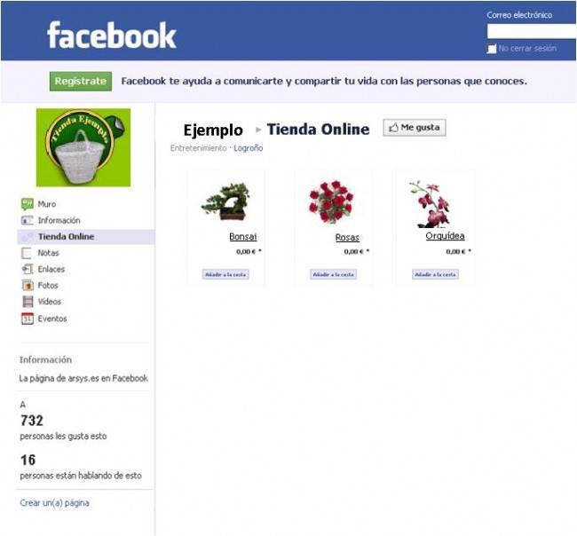 Tienda Online y Facebook
