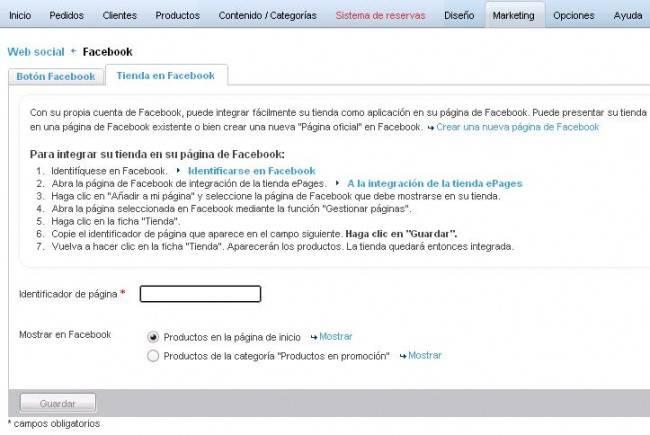 Tienda Online - menu Marketing - Tienda en Facebook