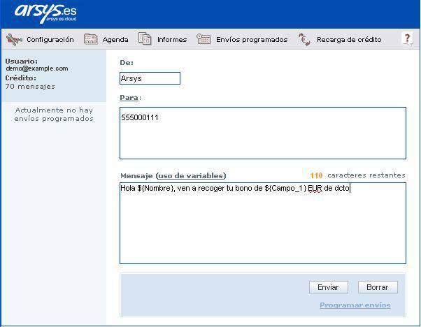 Envío de SMS con variables