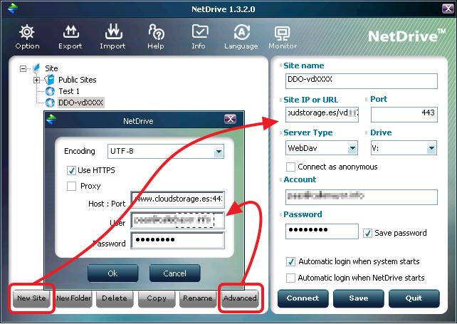 Configuración NetDrive