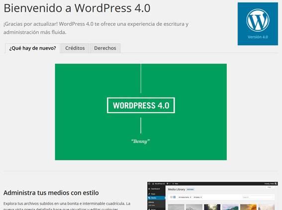 Novedades de WordPress 4.0 Benny