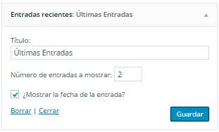 Wordpress Entradas Recientes