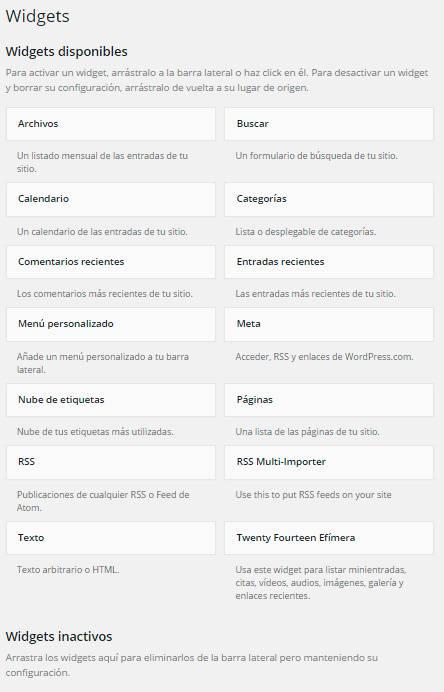 Wordpress widgets listado