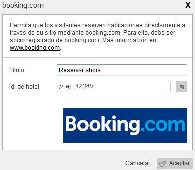 Configuración del widget de Booking