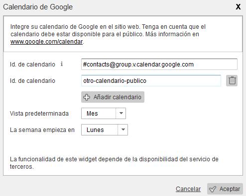 Widget de Google Calendar