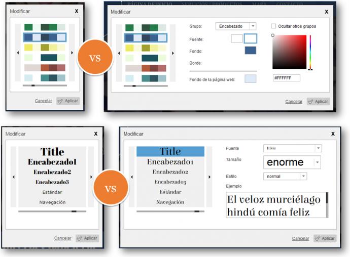Colores y tipografía estándar y básica