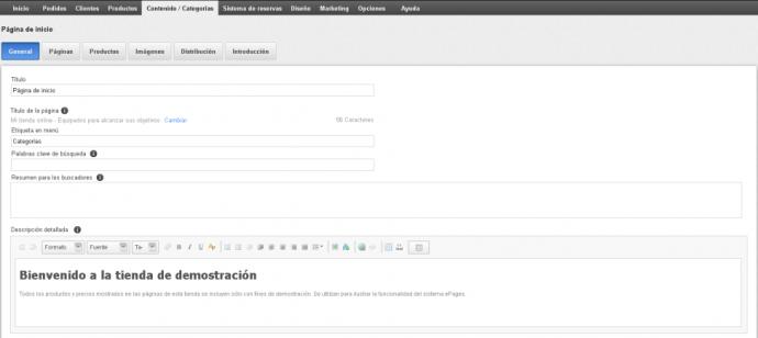 Configuración de la página principal