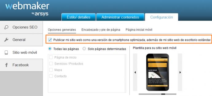 Configuración de sitio móvil en Webmaker